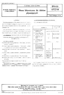 Masa bitumiczna do doków pływających BN-66/6112-14