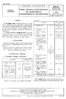 Farby ftalowe modyfikowane do gruntowania przeciwrdzewne chromianowe BN-87/6113-19