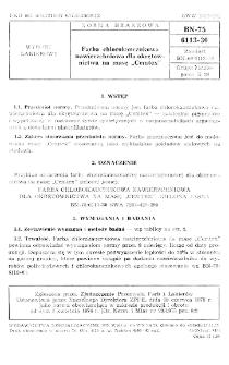 """Farba chlorokauczukowa nawierzchniowa dla okrętownictwa na masę """"Cemtex"""" BN-75/6113-30"""