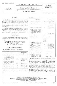 Farby poliwinylowe do gruntowania dla okretownictwa na metale lekkie BN-88/6113-86