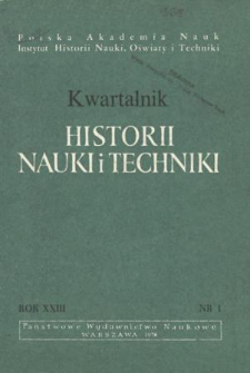 Kwartalnik Historii Nauki i Techniki R. 23 nr 1/1978