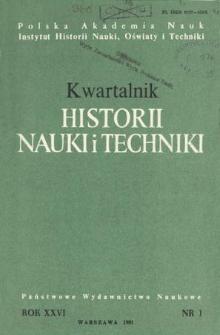 Kwartalnik Historii Nauki i Techniki R. 26 nr 1/1981