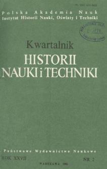 Kwartalnik Historii Nauki i Techniki R. 27 nr 2/1982