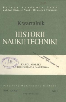 Kwartalnik Historii Nauki i Techniki R. 32 nr 1/1987