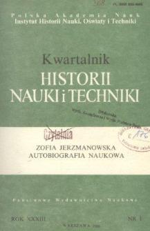 Kwartalnik Historii Nauki i Techniki R. 33 nr 1/1988
