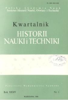 Kwartalnik Historii Nauki i Techniki R. 35 nr 1/1990