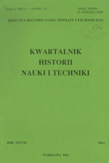 Kwartalnik Historii Nauki i Techniki R. 37 nr 4/1992