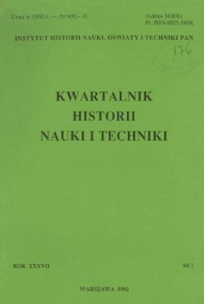 Kwartalnik Historii Nauki i Techniki R. 37 nr 2/1992