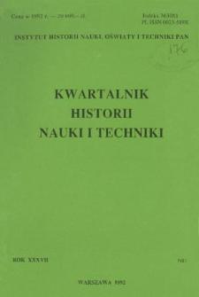 Kwartalnik Historii Nauki i Techniki R. 37 nr 1/1992