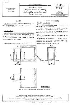 Przewietrzanie kopalń - Wejścia śluzowe i włazy do kanałów wentylacyjnych - Zasady projektowania BN-75/8901-01
