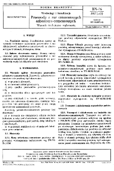Wodociągi i kanalizacja - Przewody z rur ciśnieniowych azbestowo-cementowych - Warunki techniczne wykonania BN-76/8972-02
