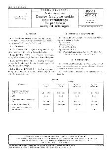 Żywice syntetyczne - Żywice fenolowe ciekłe typu rezolowego do produkcji narzędzi ściernych BN-78/6311-04