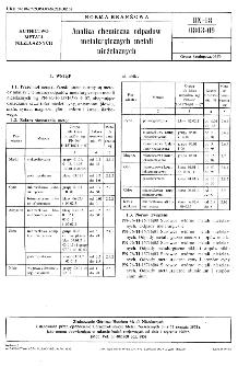 Analiza chemiczna odpadów metalurgicznych metali nieżelaznych BN-68/0803-09