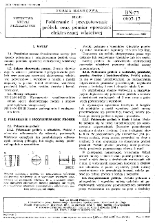Miedź - Pobieranie i przygotowanie próbek oraz pomiar oporności elektrycznej właściwej BN-73/0803-13