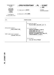 Konik obrabiarki : opis patentowy nr 213607