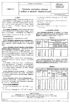 Ciśnienia nominalne, robocze i próbne w sieciach ciepłowniczych BN-64/0330-01