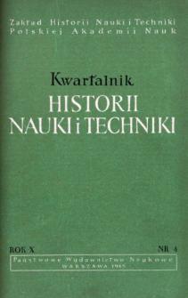 Kwartalnik Historii Nauki i Techniki R. 10 nr 4/1965