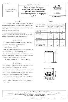 Baterie akumulatorowe zasadowe, niklowo-kadmowe z płytami kieszonkowymi normalnooporowe o napięciu 2,4 V BN-77/3032-16