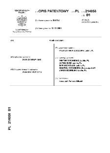 Konik obrabiarki : opis patentowy nr 214058