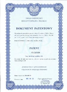 Urządzenie do badania elementów, zwłaszcza polimerowych przy oddziaływaniach ślizgowych : opis patentowy nr 215116