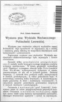Wystawa prac Wydziału Mechanicznego Politechniki Lwowskiej