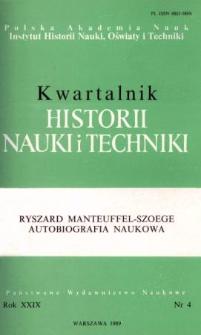 Kwartalnik Historii Nauki i Techniki R. 34 nr 4/1989
