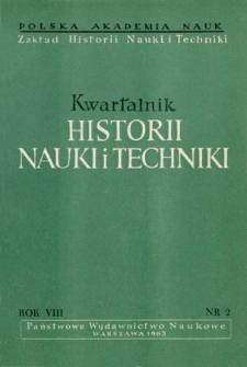 Kwartalnik Historii Nauki i Techniki R. 8 nr 2/1963