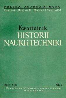 Kwartalnik Historii Nauki i Techniki R. 8 nr 1/1963