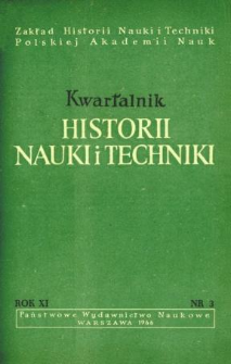 Kwartalnik Historii Nauki i Techniki R. 11 nr 3/1966