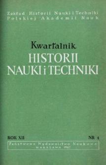 Kwartalnik Historii Nauki i Techniki R. 12 nr 4/1967