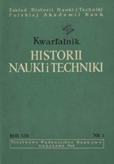 Kwartalnik Historii Nauki i Techniki R. 13 nr 1/1968