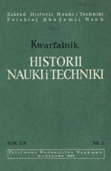 Kwartalnik Historii Nauki i Techniki R. 14 nr 3/1969