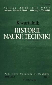 Kwartalnik Historii Nauki i Techniki R. 30 nr 2/1985