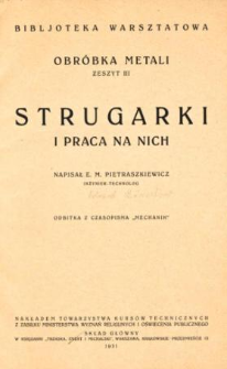 Strugarki i praca na nich
