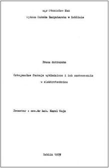 Ortogonalne funkcje wykładnicze i ich zastosowania w elektrotechnice : rozprawa doktorska