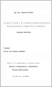 Straty mocy w transfomatorowym potrajaczu częstotliwości : rozprawa doktorska