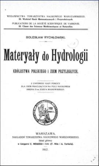 Materyały do hydrologii Królestwa Polskiego i ziem przyległych