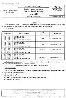 Kolejowy sprzęt sygnałowy - Latarka konduktorska typu ELN - Warunki techniczne BN-66/3506-01
