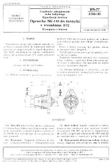 Urządzenia zabezpieczenia ruchu kolejowego - Sygnalizacja świetlna - Oprawka NK-110 do żarówki z trzonkiem B22 - Wymagania i badania BN-77/3506-31