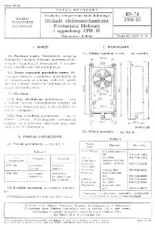 Urządzenia zabezpieczenia ruchu kolejowego - Blokada elektromechaniczna - Powtarzacz blokowy i sygnałowy ZPH 10 - Wymagania i badania BN-74/3506-23
