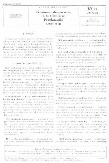 Urządzenia zabezpieczenia ruchu kolejowego - Przekaźniki - Klasyfikacja BN-74/9315-01