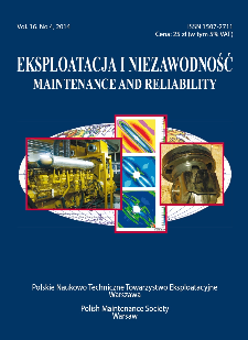 Eksploatacja i Niezawodność = Maintenance and Reliability Vol. 16 No. 4, 2014