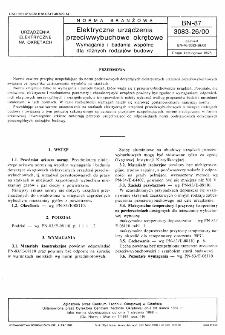 Elektryczne urządzenia przeciwwybuchowe okrętowe - Wymagania i badania wspólne dla różnych rodzajów budowy BN-87/3083-26/00
