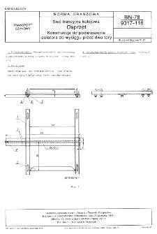 Sieć trakcyjna kolejowa - Osprzęt - Konstrukcja do podwieszania izolatora do wysięgu przez dwa tory BN-78/9317-116