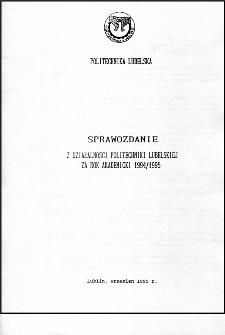 Sprawozdanie z działalności Politechniki Lubelskiej w roku akademickim 1994/95