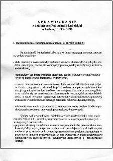 Sprawozdanie z działalności Politechniki Lubelskiej w kadencji 1993/96