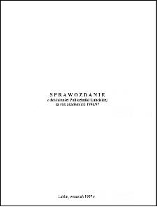 Sprawozdanie z działalności Politechniki Lubelskiej w kadencji 1996/97