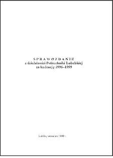 Sprawozdanie z działalności Politechniki Lubelskiej za kadencję 1996/99