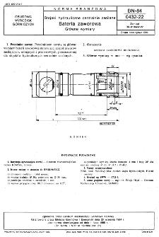 Stojaki hydrauliczne centralnie zasilane - Bateria zaworowa - Główne wymiary BN-84/0432-22