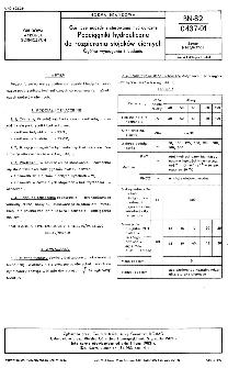 Górnicze napędy i sterowania hydrauliczne - Podciągniki hydrauliczne do rozpierania stojaków ciernych - Ogólne wymagania i badania BN-82/0437-01